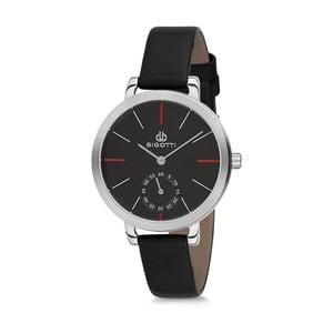 Dámske hodinky s čiernym koženým remienkom Bigotti Milano Silverina