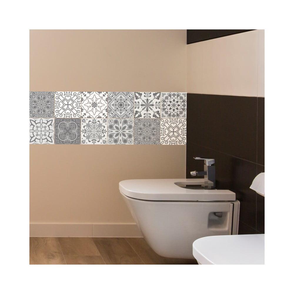 Sada 12 nástenných samolepiek Ambiance Wall Decal Tiles Grey and White Torino, 20 × 20 cm