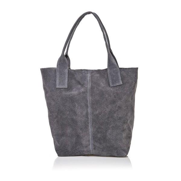 Sivá kožená kabelka Ficus
