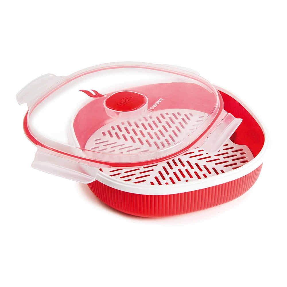 Červená sada na naparovanie pokrmov v mikrovlnke Snips Steamer, 2 l