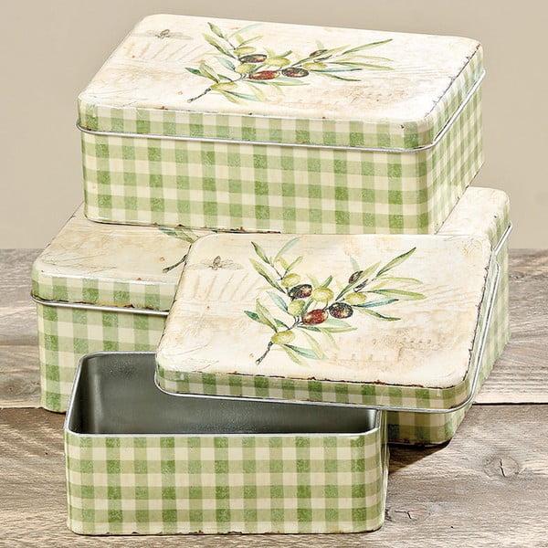 Sada 3 úložných boxov Boltze Olive