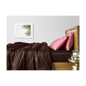 Hnedo-ružové bavlnené obliečky na dvojlôžko s hnedou plachtou COSAS Ludo, 200×220cm