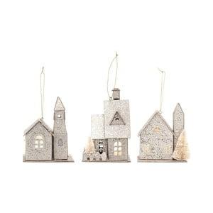 Sada 3 papierových vianočných ozdôb v tvare domčeka Bloomingville Ornament
