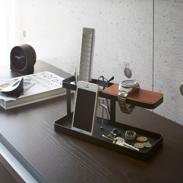 Čierny multifunkčný stojan Yamazaki Tower Desk Bar