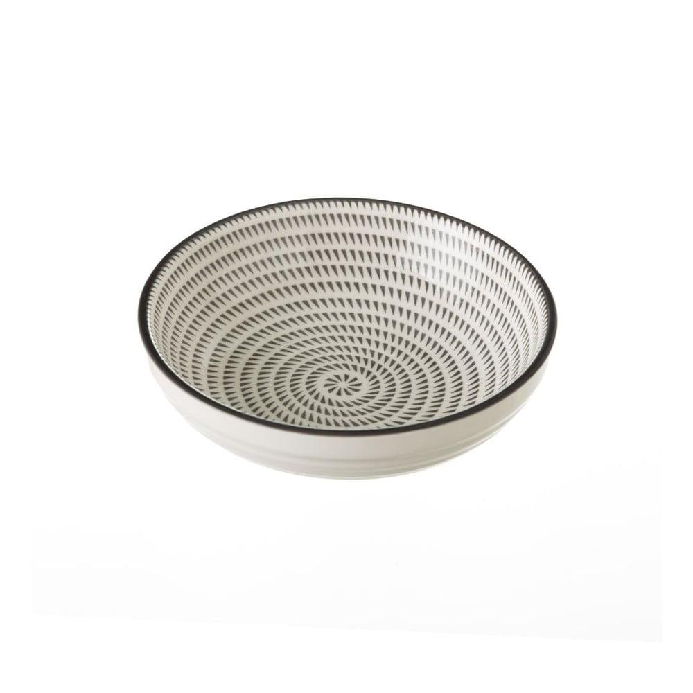 Sivo-biela porcelánová miska Unimasa Signal, priemer 12,6 cm