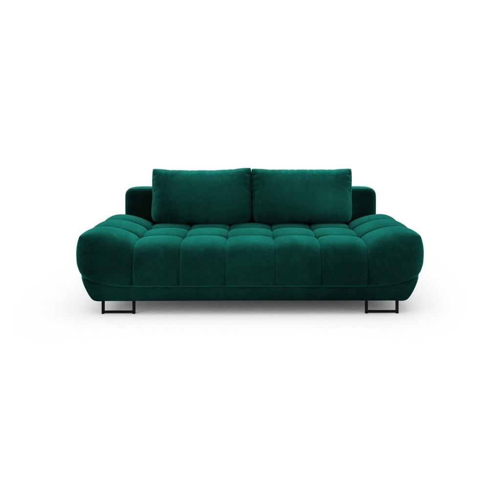 Tmavozelená trojmiestna rozkladacia pohovka so zamatovým poťahom Windsor & Co Sofas Cirrus