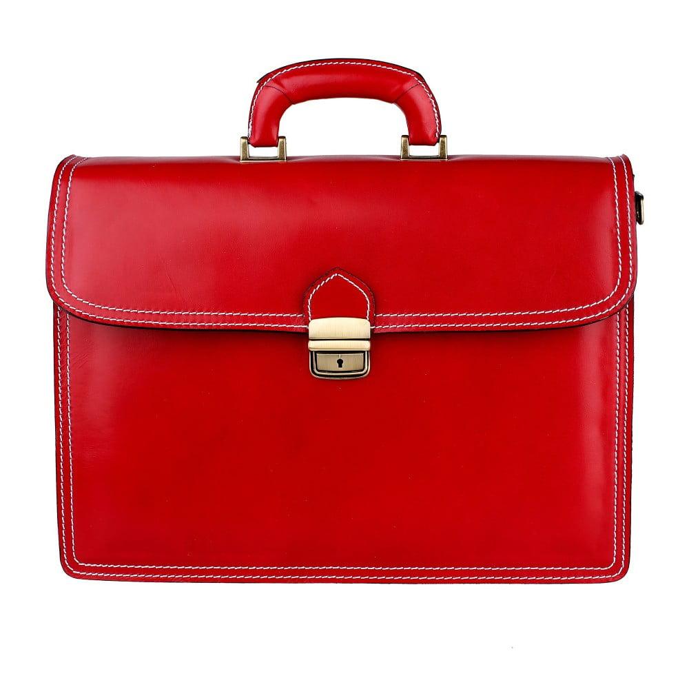 Červená kožená taška Chicca Borse Paolo