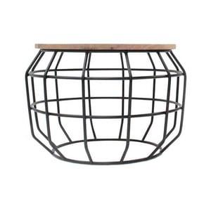 Čierny príručný stolík s doskou z mangového dreva LABEL51 Pixel,⌀56 cm