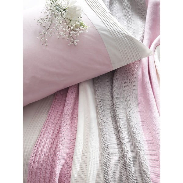 Obliečky s plachtou a posteľnou prikrývkou Pink and Grey, 160x220 cm