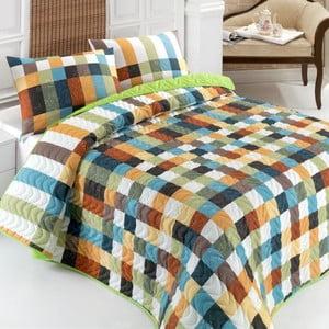 Sada prešívanej prikrývky na posteľ a vankúša Frame Green, 160x220 cm