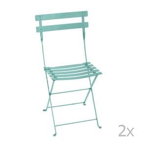 Sada 2 modrých kovových skladacích záhradných stoličiek Fermob Bistro