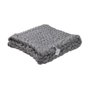 Sivý ručne pletený pléd z merino vlny WeLoveBeds, 180×140 cm