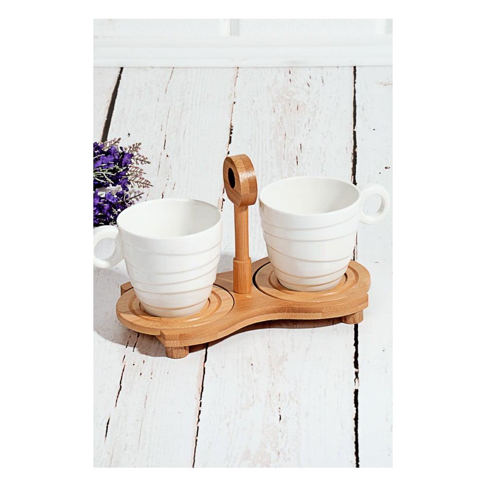 Bambusový podnos s 2 porcelánovými šálky Drink, 25 × 14 cm
