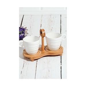 Bambusový podnos s 2 porcelánovými šálky Drink, 25×14 cm
