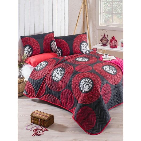 Prešívaný pléd cez posteľ s 2 obliečkami na vankúše Tetsuga, 200×220cm