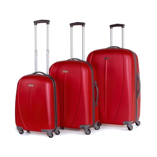 Sada 3 kufrov Tempo, jahodovo červená