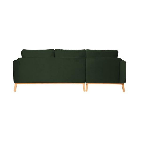 Tmavozelená trojmiestna sedačka ľavý roh Vivonita Milton Trend