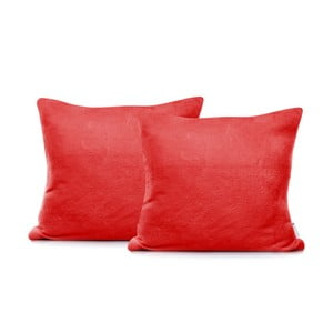Sada 2 červených obliečok na vankúše DecoKing Mic, 45×45 cm