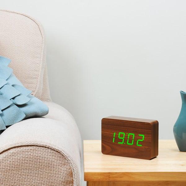 Tmavohnedý budík so zeleným LED displejom Gingko Brick Click Clock