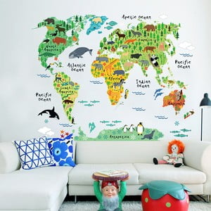 Detská nástenná samolepka Ambiance World Map, 73×95cm
