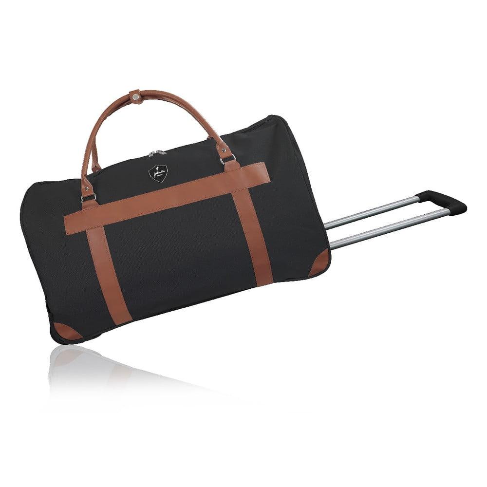 Čierna cestovná taška na kolieskách GENTLEMAN FARMER Oslo, 63 l