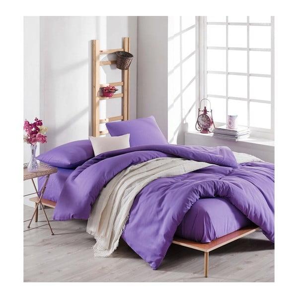 Set fialovej obliečky s plachtou na dvojlôžko Violette, 200 × 220 cm