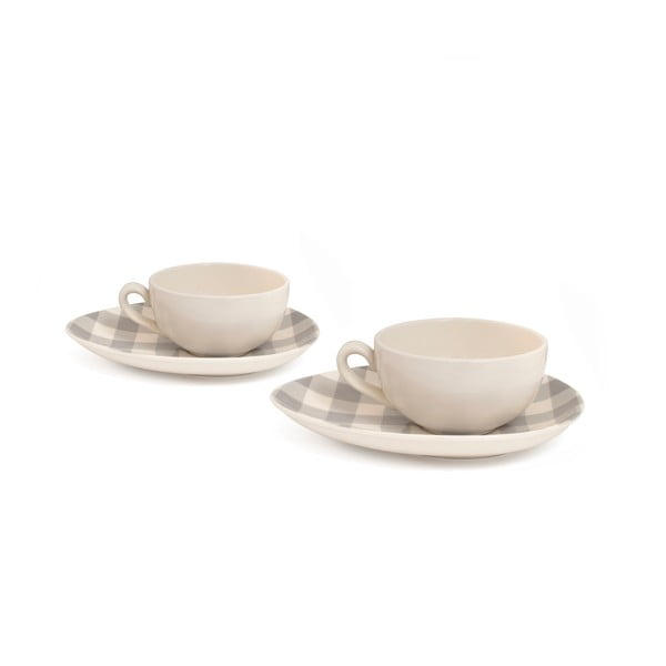 Sada 2 šálok na cappuccino od Nigelly Lawson Gingham Grey