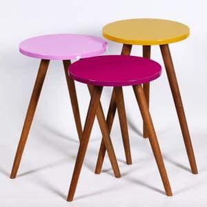 Sada 3 odkladacích stolíkov Kate Louise Round (fialový, ružový, žltý)