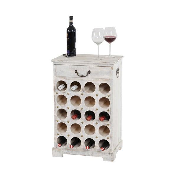 Biely stojan na 20 fliaš vína Mendler Shabby