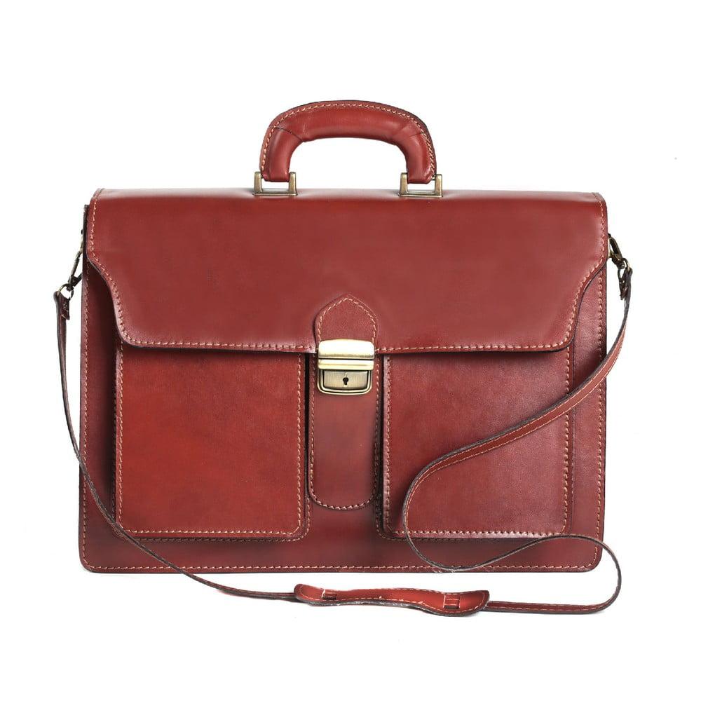 Hnedá kožená pánska taška Chicca Borse Messenger Brown