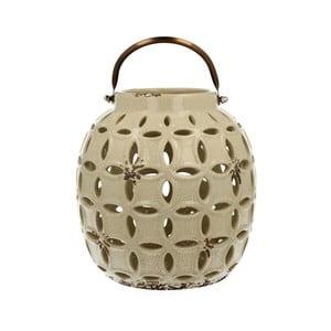 Krémový keramický lampáš Duo Gift, výška17,8 cm