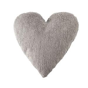 Svetlosivý bavlnený ručne vyrobený vankúš Lorena Canals Heart, 47 x 50 cm