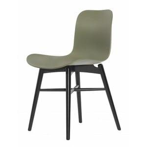 Zelená jedálenská stolička z masívneho bukového dreva NORR11 Langue Stained