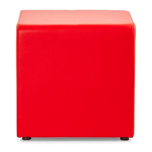 Červený puf z pravej kože Kokoon Rubik