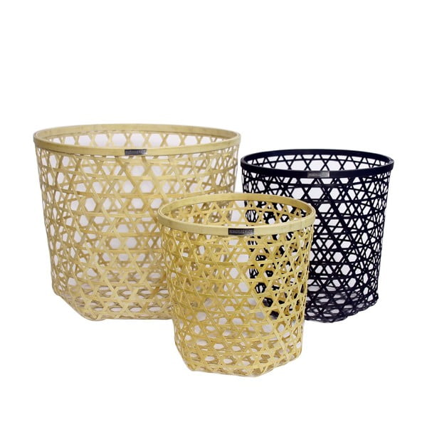 Sada 3 bambusových košíkov Natural