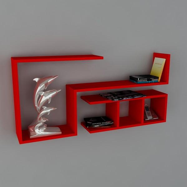 Polica Finito Book Red, 22x117x55,5 cm