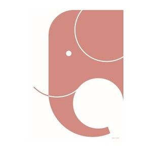 Ružový plagát SNUG.Elephant, 50x70cm