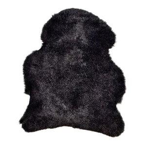 Čierna ovčia kožušina s krátkym vlasom, 90 x 60 cm