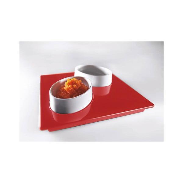 Červený servírovací set Entity, 15x15cm
