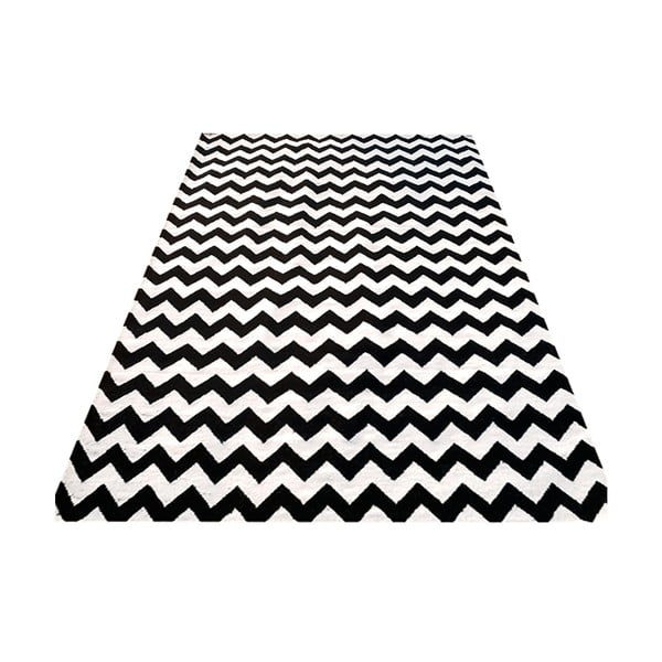 Ručne tkaný koberec Kilim Design Two Black, 160x230 cm