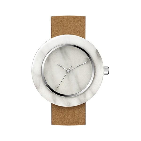 Biele mramorové hodinky s hnedým remienkom Analog Watch Co. Marble