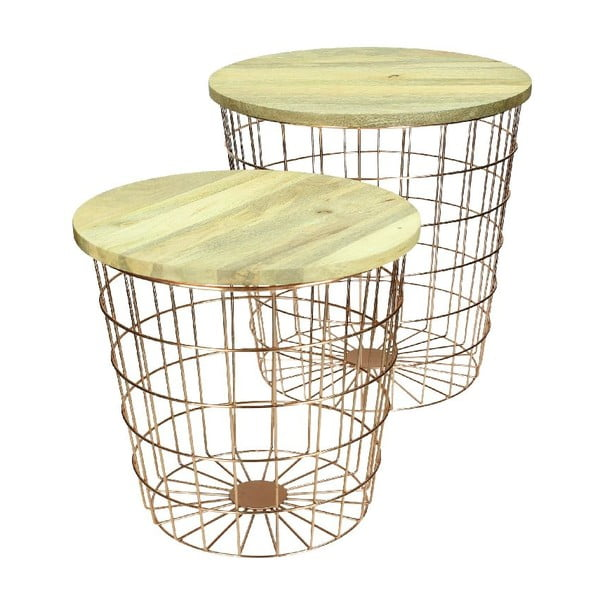 Set 2 stolíkov Wood Copper