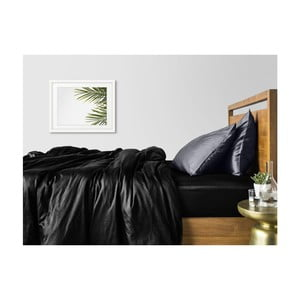 Sada 2 čierno-sivých bavlnených obliečok na jednolôžko s čiernou plachtou COSAS Lago, 160×220cm