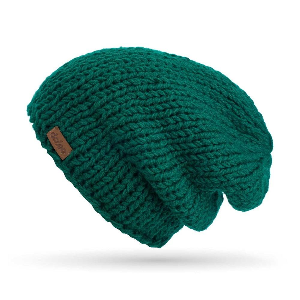 4d95458db57f Zelená ručne pletená čiapka DOKE Mina