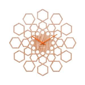 Nástenné hodiny v drevenom dekore Karlsson Sunshine Hexagon