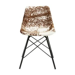 Hnedo-biela jedálenská stolička s koženým poťahom Kare Design Haudy