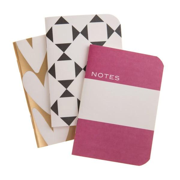 Sada 3 vreckových zošitov Notes