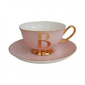 Ružový hrnček s tanierikom s písmenom B Bombay Duck