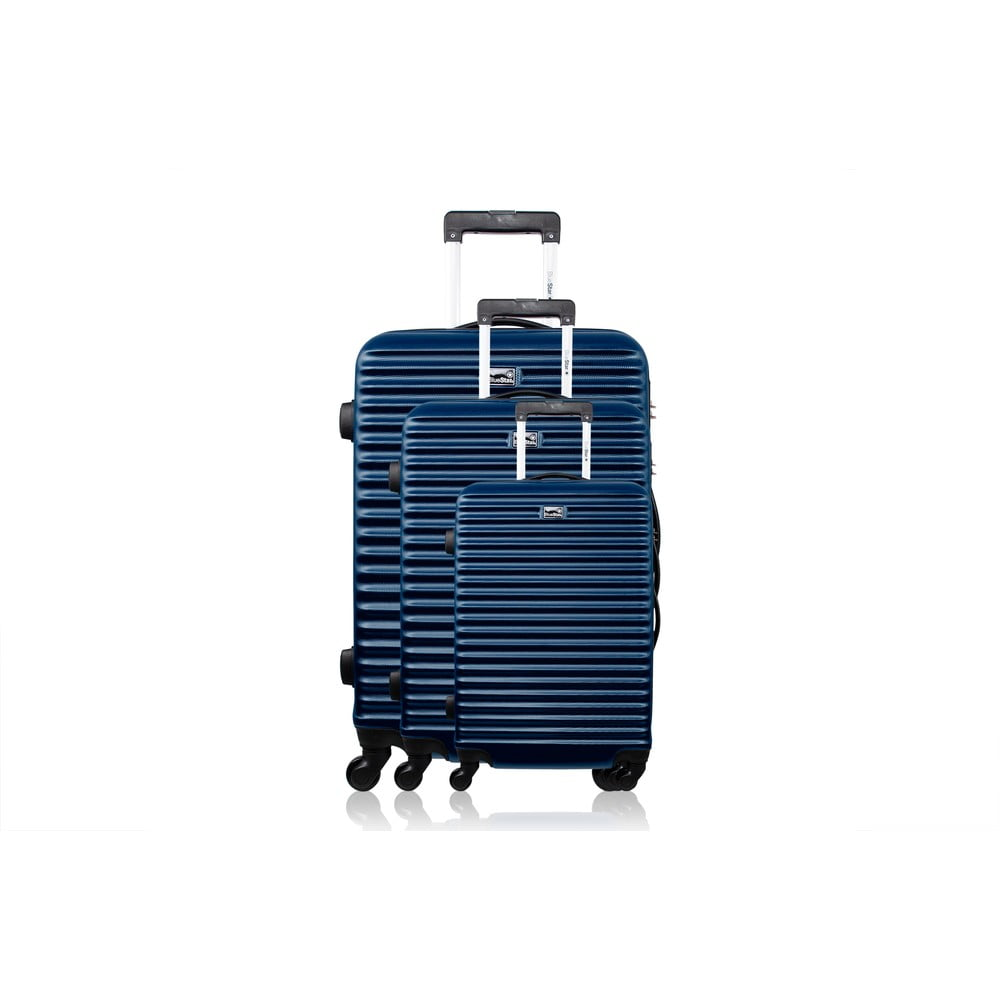 Sada 3 modrých cestovných kufrov na kolieskach Bluestar Brazília