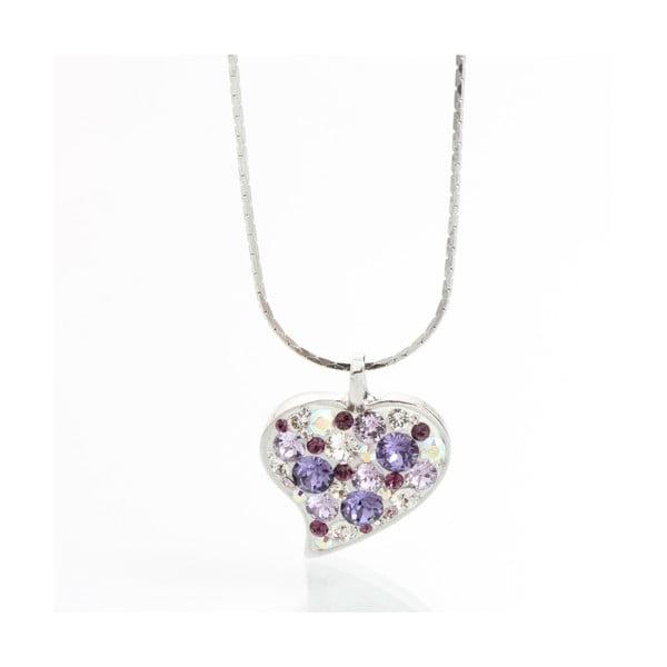 Náhrdelník Laura Bruni so Swarovski Elements Heart Violet